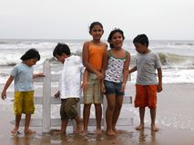 Children playing at the beach. Children of indian origin playing at  the beach Royalty Free Stock Images