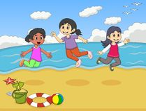 Children playing on the beach cartoon vector illustration Royalty Free Stock Image