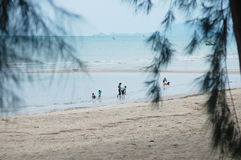 Children playing on the beach at Fishing Village Koh Phithak Island Stock Image