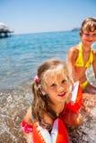 Children  playing on  beach Stock Image