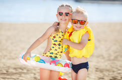Children playing on the beach. Royalty Free Stock Images