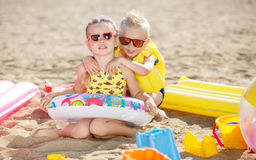 Children playing on the beach. Stock Image