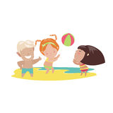 Children playing beach volleyball Stock Images