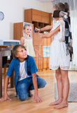 Children playing at Blind man bluff indoors Royalty Free Stock Photography