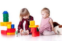 Children playing with blocks Royalty Free Stock Images