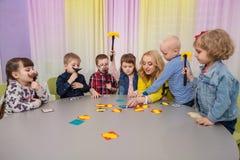Children play board games stock photo