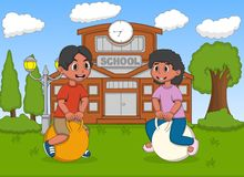 Children playing bouncing ball in the school cartoon Stock Image