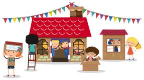 Children playing with boxes stock illustration