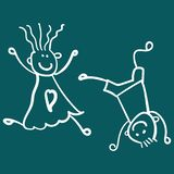 Children playing boy with girl stock illustration