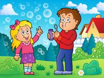 Children playing with bubble kit theme 2 Royalty Free Stock Photography
