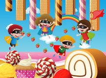 Children playing in candy land. Illustration Royalty Free Stock Images