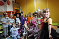 Children playing. And celebrating Halloween at kindergarten in Bucharest,Romania Royalty Free Stock Photos
