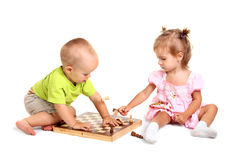 Children playing chess Royalty Free Stock Photo