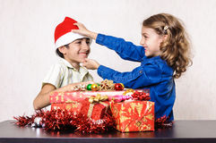 Children playing at Christmas Stock Photography