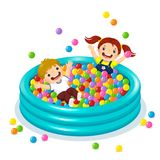 Children playing with colorful balls in ball pool. Vector illustration of children playing with colorful balls in ball pool stock illustration