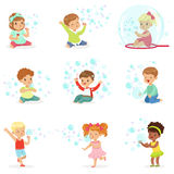 Children playing with colorful soap bubbles, holiday show of soap bubbles at a children party. Cartoon detailed colorful Illustrations isolated on white vector illustration