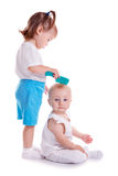 Children playing with comb Royalty Free Stock Photo