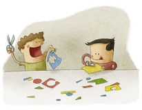 Children playing with craft Royalty Free Stock Photo