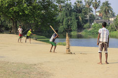 Children are playing cricket. Royalty Free Stock Photography
