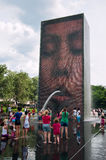 Children playing in the Crown Fountain in Chicago, USA Royalty Free Stock Photos
