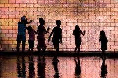 Children Playing in Crown Fountain stock image