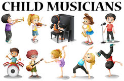Children playing different musical instruments Stock Images