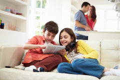 Children Playing With Digital Devices Stock Images