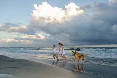 Children playing with a dog on the beach Royalty Free Stock Photo