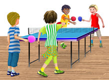 4 children playing a double table tennis match. Children or young teens playing a double table tennis match. The table standing on a wood floor. The scene could Stock Photography