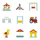 Children playing elements icons set, flat style Royalty Free Stock Photo