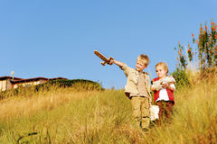 Children playing explorer royalty free stock photography