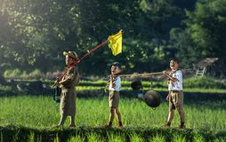 Children Playing in Farm Stock Photography