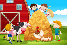 Children playing with farm animals in farm Stock Images