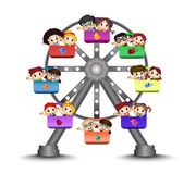 Children playing in a Ferris wheel Royalty Free Stock Photo