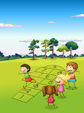 Children playing in the field. Illustration of the children playing in the field Royalty Free Stock Photography