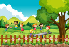 Children playing in the field Royalty Free Stock Photo