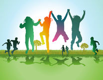 Children playing in field. Illustration of colorful silhouetted children running and jumping in green field or meadow; summer scene Stock Photography