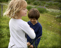 Children playing. In a field south part of Iceland Stock Photos
