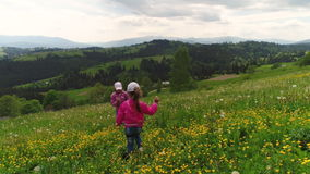 Children playing on a flowering lawn against the backdrop of the Carpathian Mountains stock footage