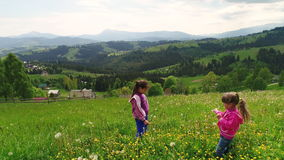 Children playing on a flowering lawn against the backdrop of the Carpathian Mountains. View of family walking the village Yablunytsia in Carpatian mountains stock footage