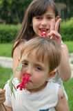 Children playing with flowers Royalty Free Stock Photo