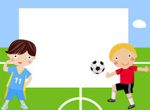 Children playing football and frame Stock Photography