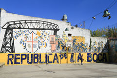 Children playing football at La Boca district, Buenos Aires Royalty Free Stock Photos