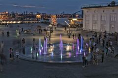 Ukraine, Kiev .Podol . Post square, fountains. royalty free stock images