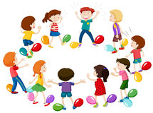Children playing game of balloon popping Stock Photo