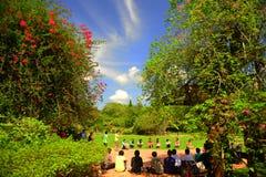 Children playing games at Botanical Gardens Royalty Free Stock Photos