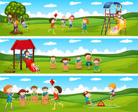 Children playing games in the park Stock Images