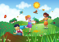 Children Playing in a Garden. Three children playing in a garden filled with different flowers and insects Royalty Free Stock Photo