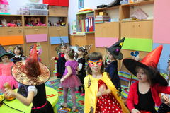Children playing on Halloween. Children celebrating Halloween at kindergarten in Bucharest,Romania Royalty Free Stock Photos