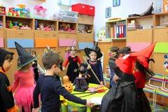 Children playing on Halloween. Children celebrating Halloween at kindergarten in Bucharest,Romania Royalty Free Stock Photography